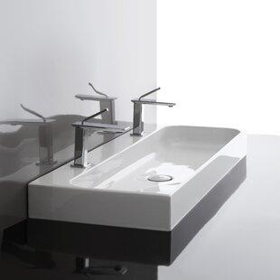 WS Bath Collections Unit Ceramic Ceramic Rectangular Vessel Bathroom Sink with Overflow