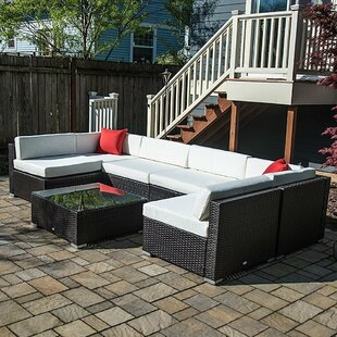 Superieur 7 Piece Rattan Sectional Seating Group With Cushions