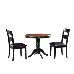 Dahlberg 3 Piece Solid Wood Dining Set by August Grove Best