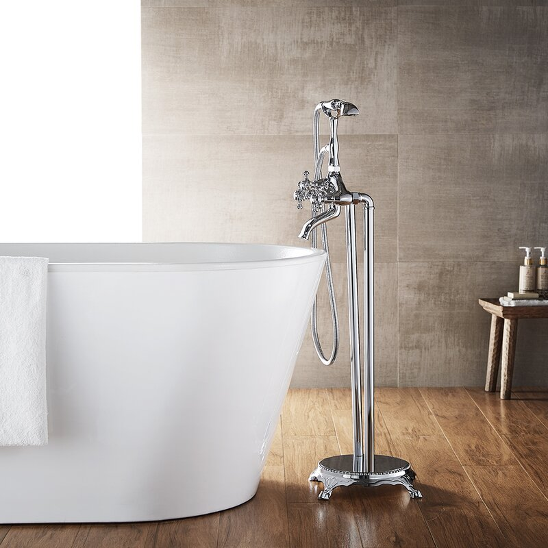 showering in a clawfoot tub. Cassandra Double Handle Floor Mount Clawfoot Tub Faucet Trim With Hand  Shower Vinnova