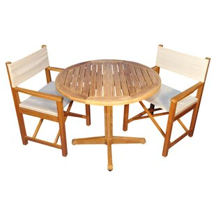 Oxford 3 Piece Teak Dining Set with Sunbrella Cushions