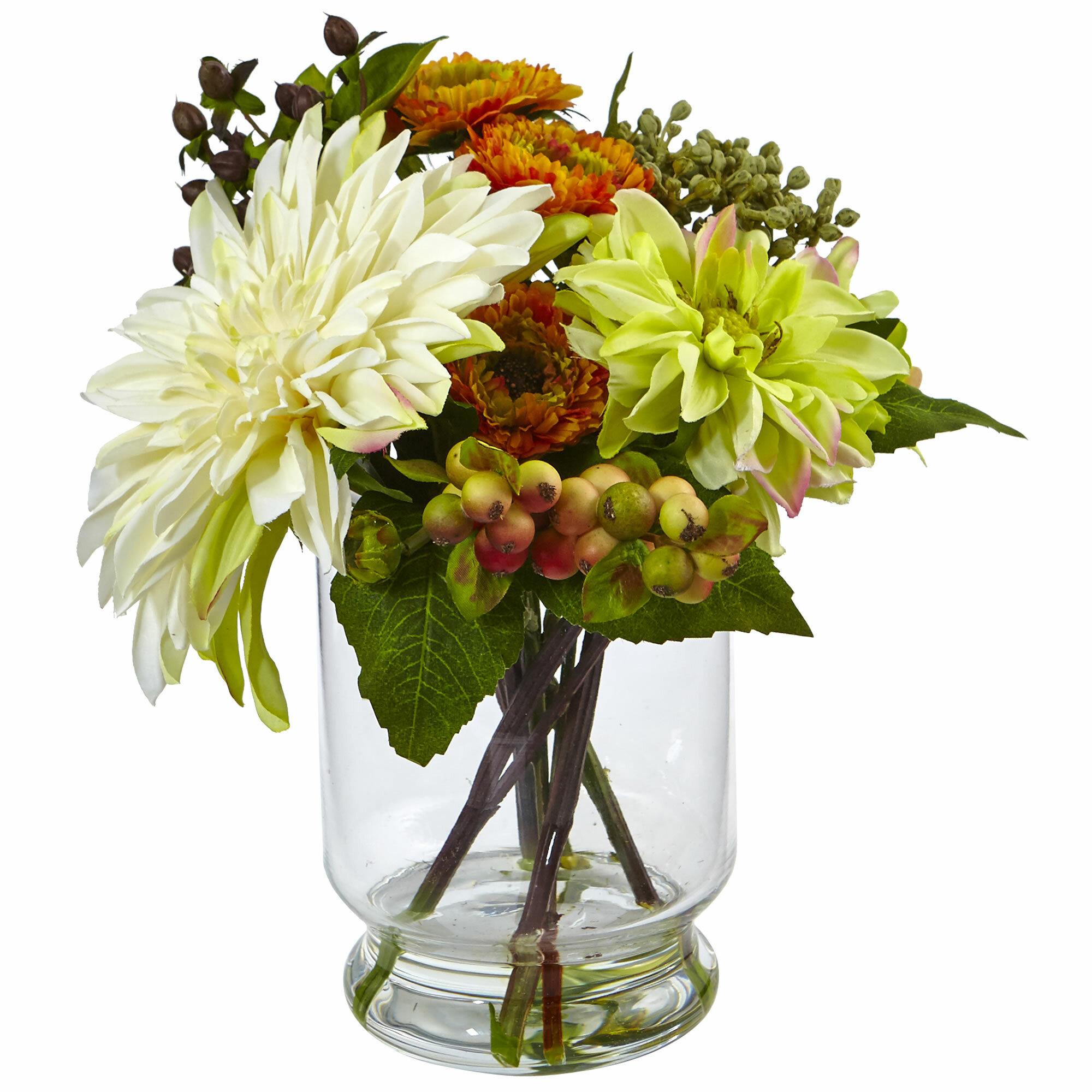 Nearly natural dahliamum floral arrangements in decorative vase nearly natural dahliamum floral arrangements in decorative vase reviews wayfair izmirmasajfo