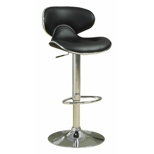Woolum Scooped Adjustable Height Swivel Bar Stool (Set of 2) by Orren Ellis