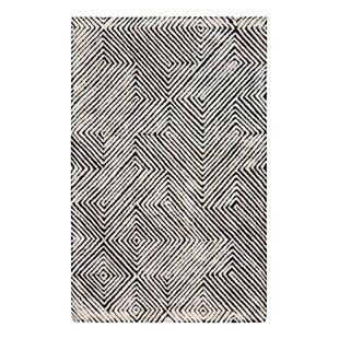 Affordable Price Hand-Tufted Black/White Area Rug ByBrayden Studio