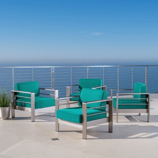 Elwyn Patio Chair with Sunbrella Cushions (Set of 4) by Orren Ellis