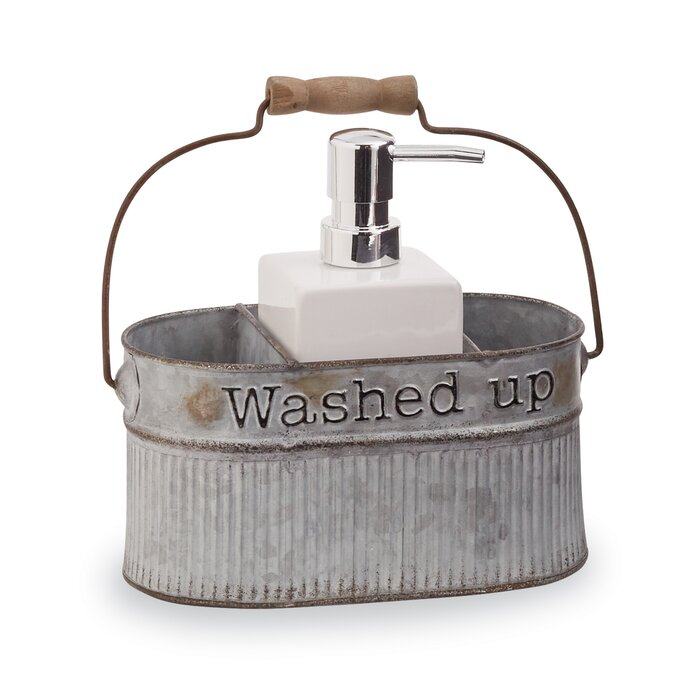 Mud Pie Galvanized Tin Farmhouse Soap Pump 2 Piece Bathroom Accessory Set Reviews Wayfair Ca