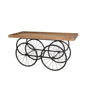 Ashley Dramatic Metal and Wood Cart Coffee Table