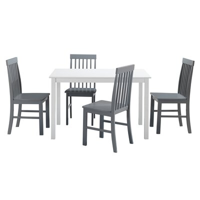 Cienna 5 Piece Dining Set Chair Color: Gray by Beachcrest Home