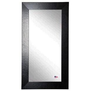 Latitude Run Rectangle Black Wide Leather Wall Mirror