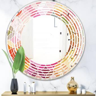 East Urban Home Triple C And Black Art Deco Pattern Glam Frameless Wall Mirror Wayfair