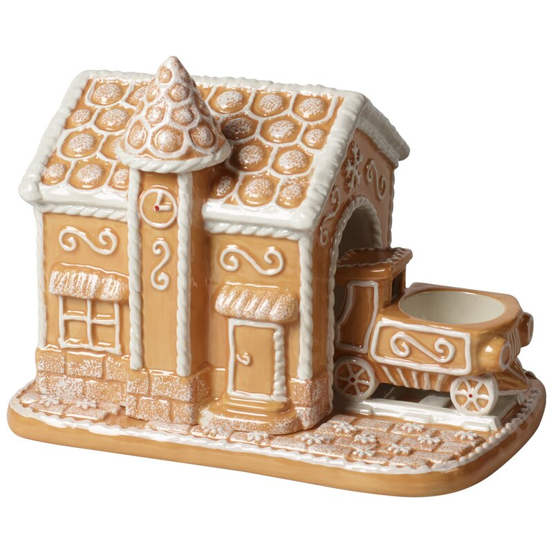 Porzellan Villeroy /& Boch Winter Bakery Decoration Teelichthalter Lebkuchenzug Braun