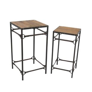 Crosstown Wood and Metal 2 Piece Console Table Set
