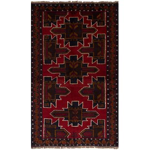 Order One-of-a-Kind Alaniz Hand-Knotted Wool Red/Black Area Rug By Isabelline