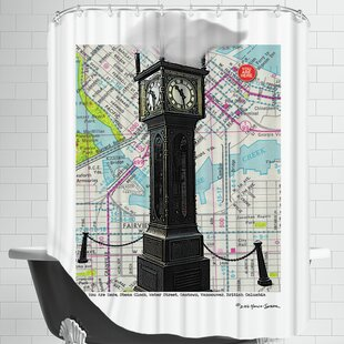 Gastown Clock Vancouver Bc Single Shower Curtain by East Urban Home Wonderful