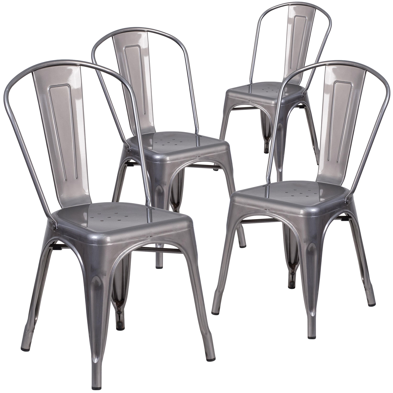 Guglielmo Coated Metal Indoor Stackable Dining Chair