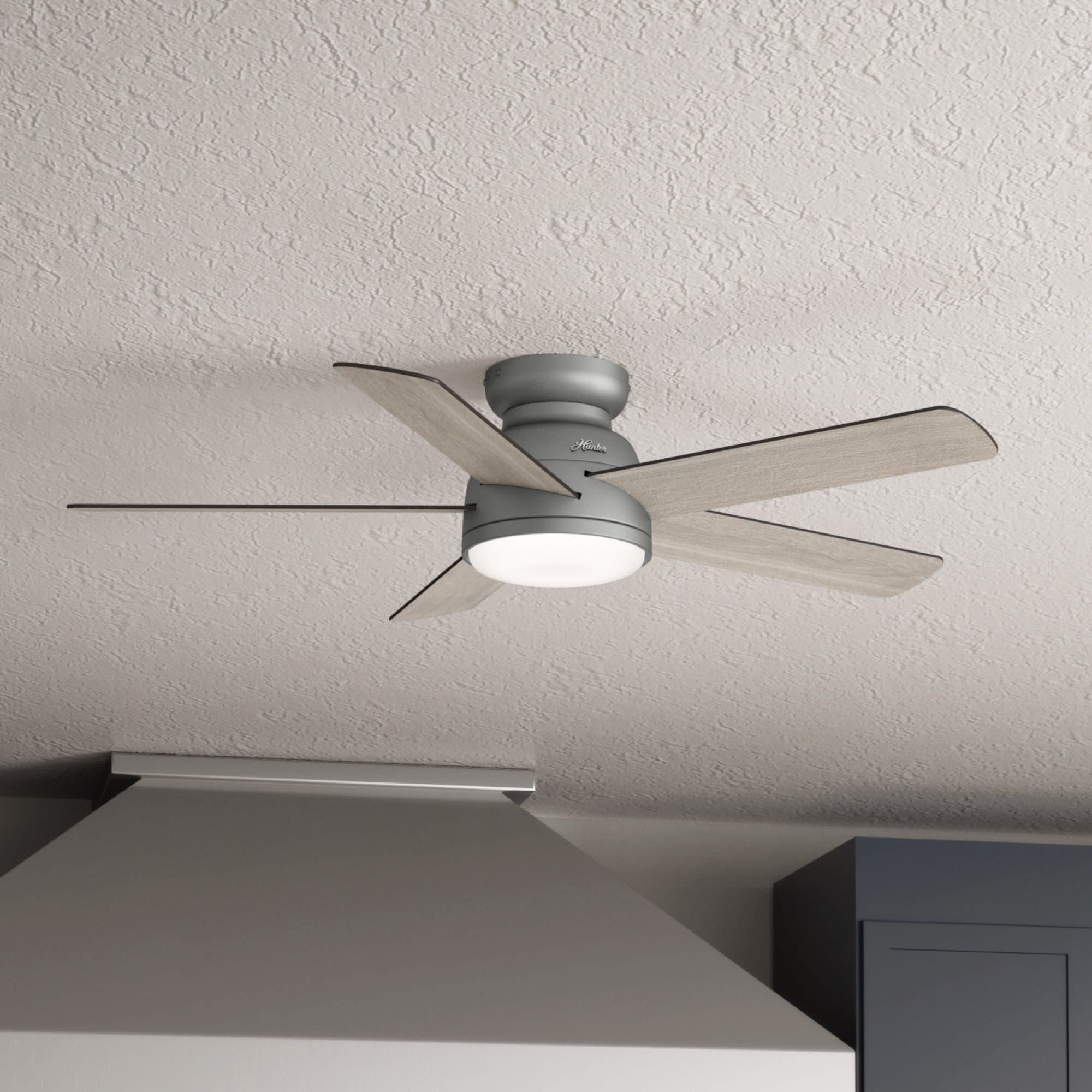 """11"""" Romulus 11 - Blade LED Smart Flush Mount Ceiling Fan with Remote Control  and Light Kit Included"""