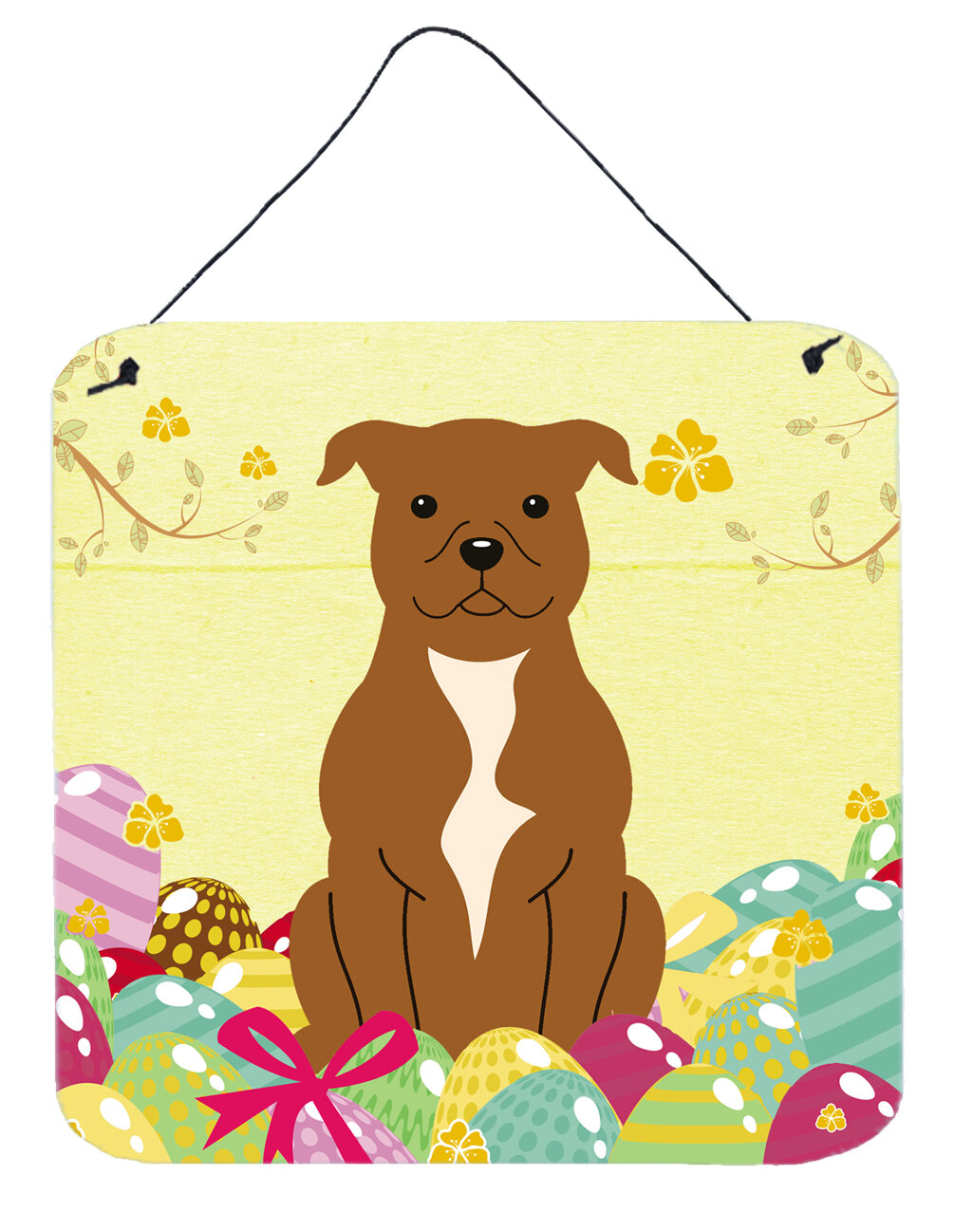 The Holiday Aisle Easter Eggs Staffordshire Bull Terrier Gloss Wall ...