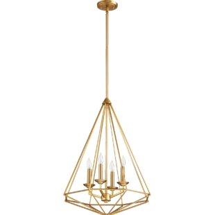 Everly Quinn Calne 4-Light Geometric Chandelier