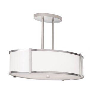 ILEX Lighting Hatbox Oval Drum Pendant with Double Stem