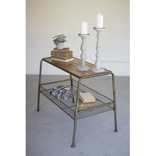 Williston Forge Grigg Wood and Metal Console Table with Wire Mesh Lower Tray