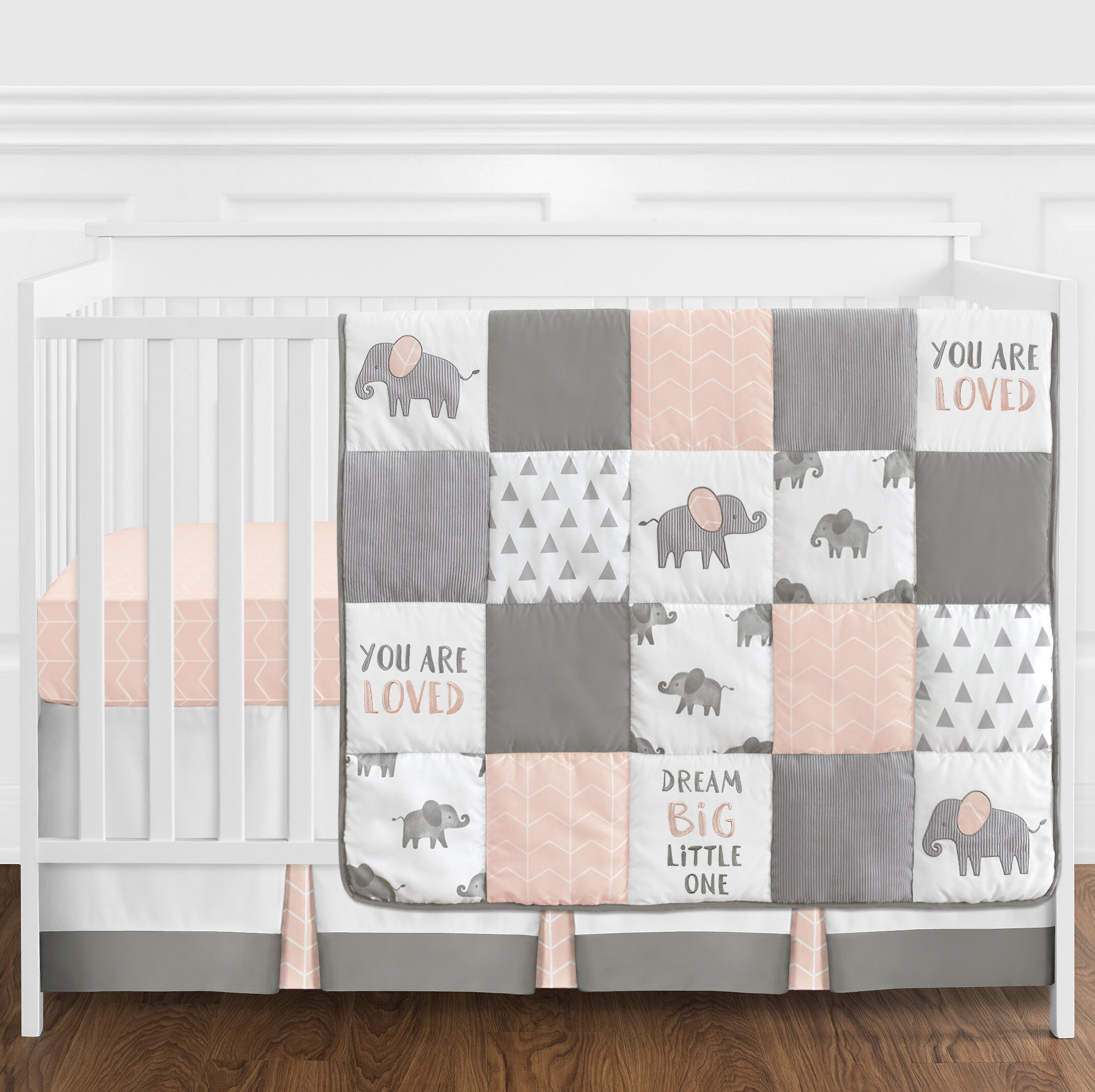 2 Piece Reversible Baby Comforter and Shaped Cushion Cuddles /& Cribs Nursery Bedding Elephant Family