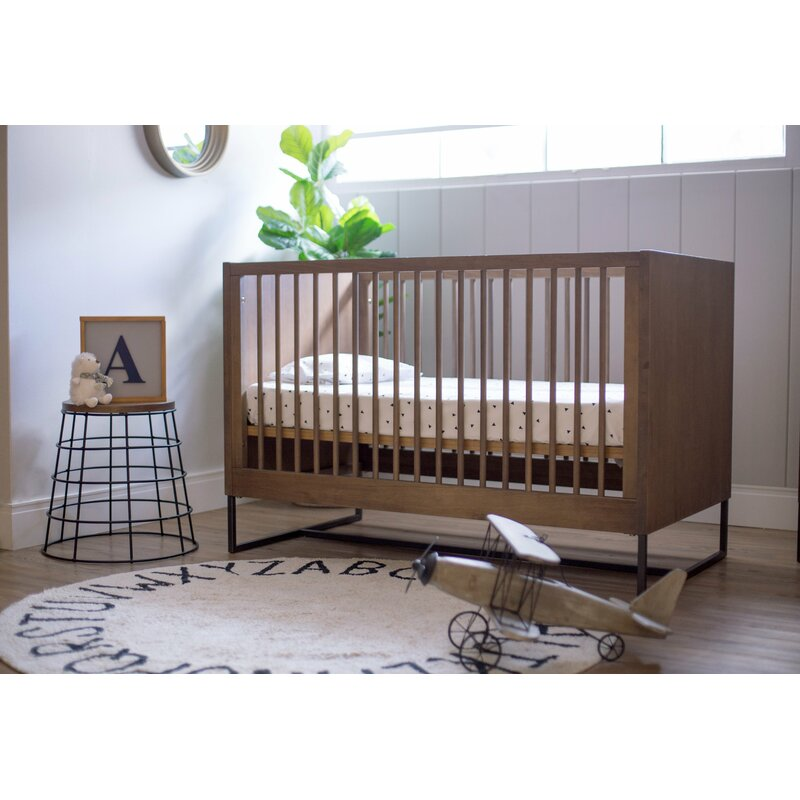 Solid Wood Non-Toxic finished walnut baby crib