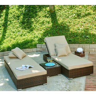 Galicia Double Chaise Lounge With Cushion And Table by Ivy Bronx Purchase