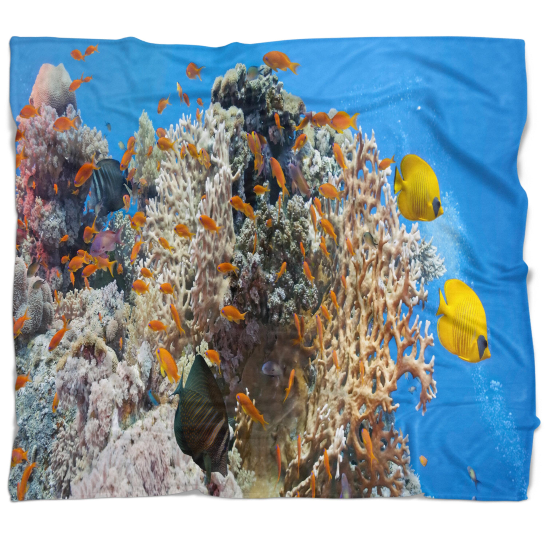East Urban Home Photography Coral Scene Panorama Blanket Wayfair