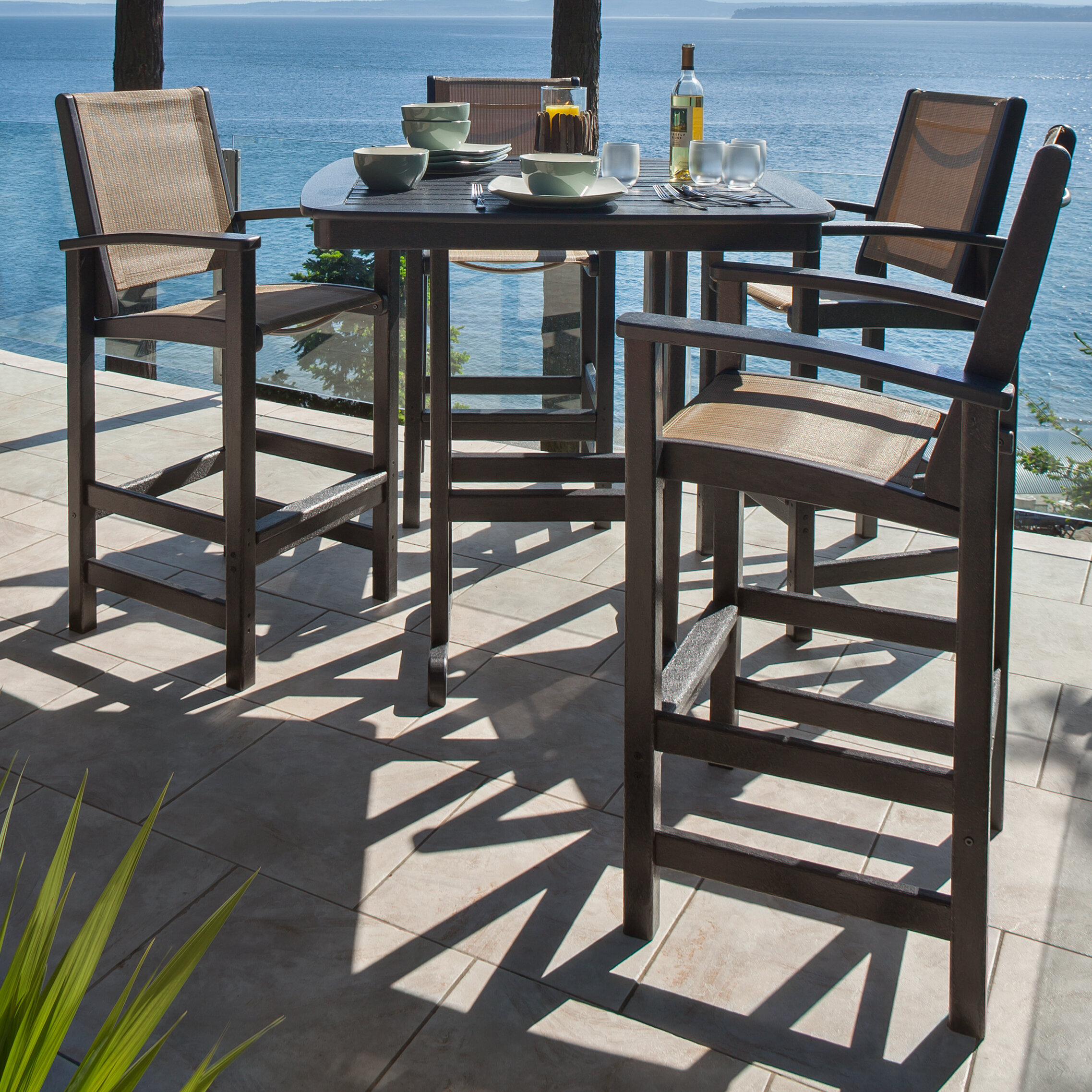 Amazing Coastal 5 Piece Bar Height Dining Set Dailytribune Chair Design For Home Dailytribuneorg