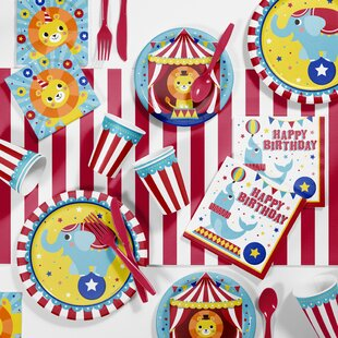 Circus Animals Birthday Party Paper/Plastic Disposable Supplies Kit