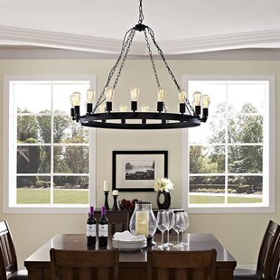 Modway Teleport 8-Light Wagon Wheel Chandelier