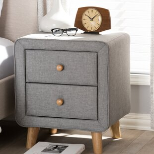 Kisor Mid-Century Upholstered 2 Drawer Nightstand