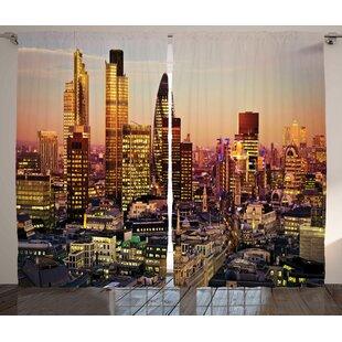 Easton New York Graphic Print Text Semi Sheer Rod Pocket Curtain Panels Set Of 2
