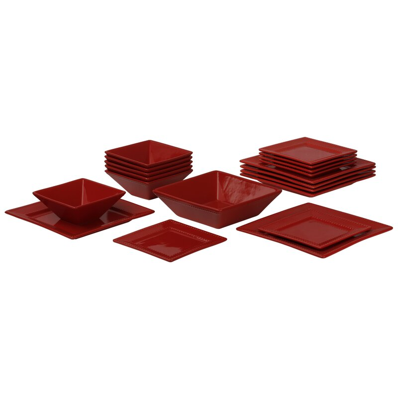 Nova Square Beaded 19 Piece Dinnerware Set Service for 6  sc 1 st  Wayfair & Ten Strawberry Street Nova Square Beaded 19 Piece Dinnerware Set ...