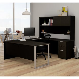 Kadian Contemporary Reversible U-Shape Executive Desk With Hutch by Comm Office Bargain