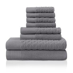 Jacquard 8 Piece Turkish Cotton Towel Set