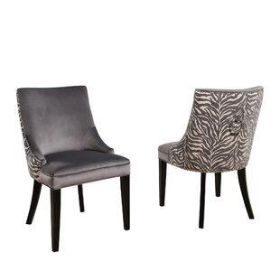 Myrtie Velvet Zebra Upholstered Dining Chair (Set of 2) by Rosdorf Park