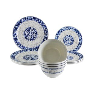 Lemasters Dragon Melamine 12 Piece Dinnerware Set, Service for 4
