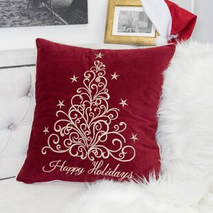 Holidays Fancy Embroidered Velvet Throw Pillow
