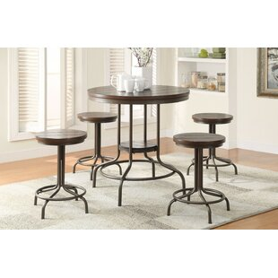 Gracie Oaks Bronson Metal 5 Piece Counter Height Dining Set