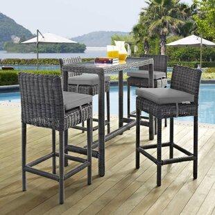 Keiran 5 Piece Outdoor Patio Sunbrella® Pub Set in Canvas Gray