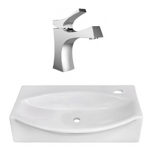 Inexpensive Ceramic 12 Wall Mount Bathroom Sink with Faucet ByAmerican Imaginations
