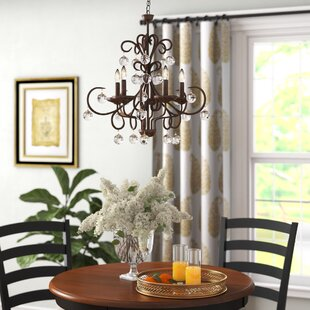 Charlton Home Frandsen Wrought Iron 5-Light LED Candle Style Chandelier