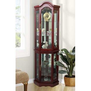 Astoria Grand Clayborne Floor Standing 5 Sided Lighted Corner Curio Cabinet