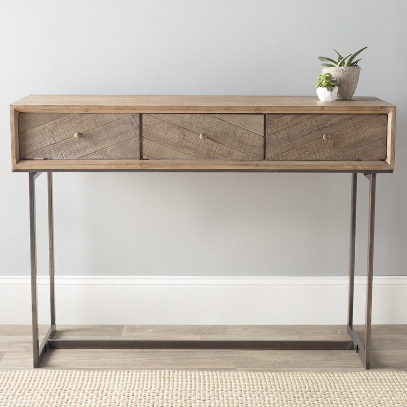 Wood And Metal Console Part - 15: Wood And Metal Console Table
