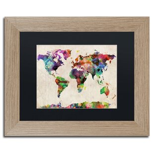 Watercolor world map wayfair urban watercolor world map by michael tompsett framed graphic art gumiabroncs Choice Image