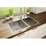 """Stainless Steel 31"""" L x 21"""" W Double Basin Drop-In Kitchen Sink with Sink Grid and Drain Assembly"""