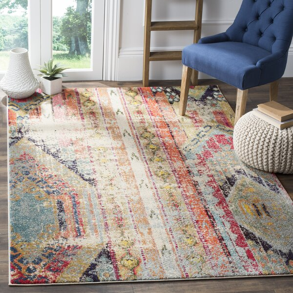 Mistana Newburyport Abstract Pink Orange Yellow Area Rug