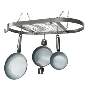 Mackles Hammered Oval Hanging Pot Rack with Cookware