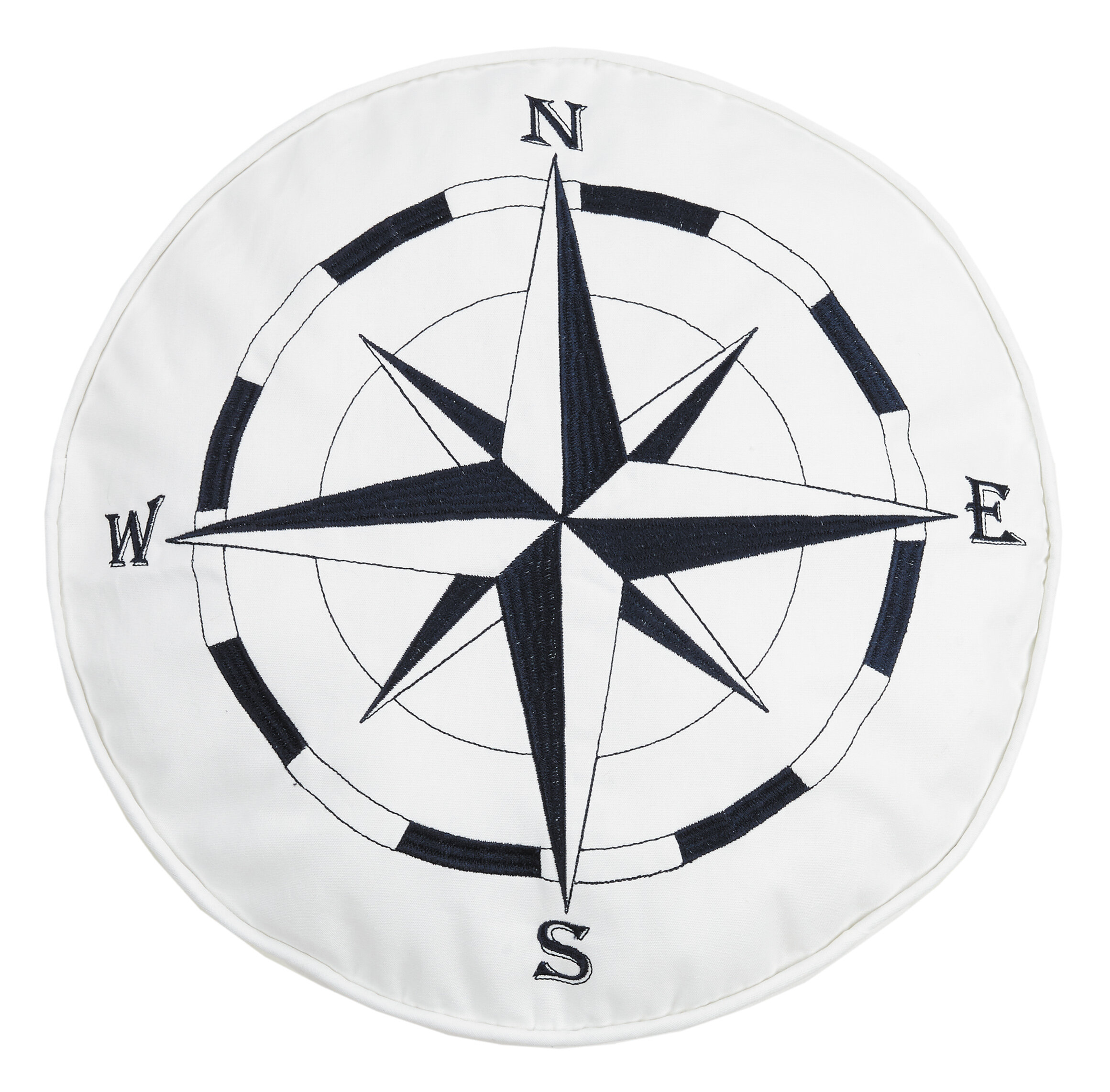 Breakwater Bay Earnhardt Nautical Compass Embroidered Cotton Throw Pillow Reviews Wayfair